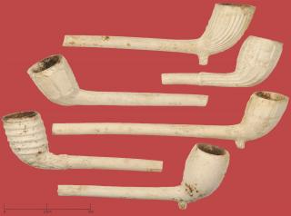 A group of 19th century clay tobacco pipes from College Street, Bury St Edmunds