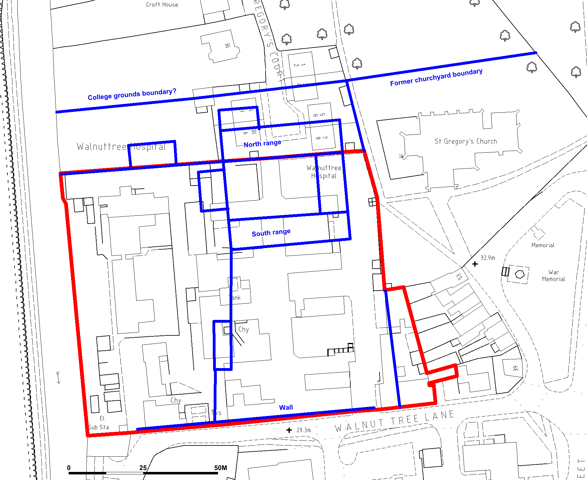 Estimated position of the medieval St Gregory's College, Sudbury in a Suffolk Archaeology DBA