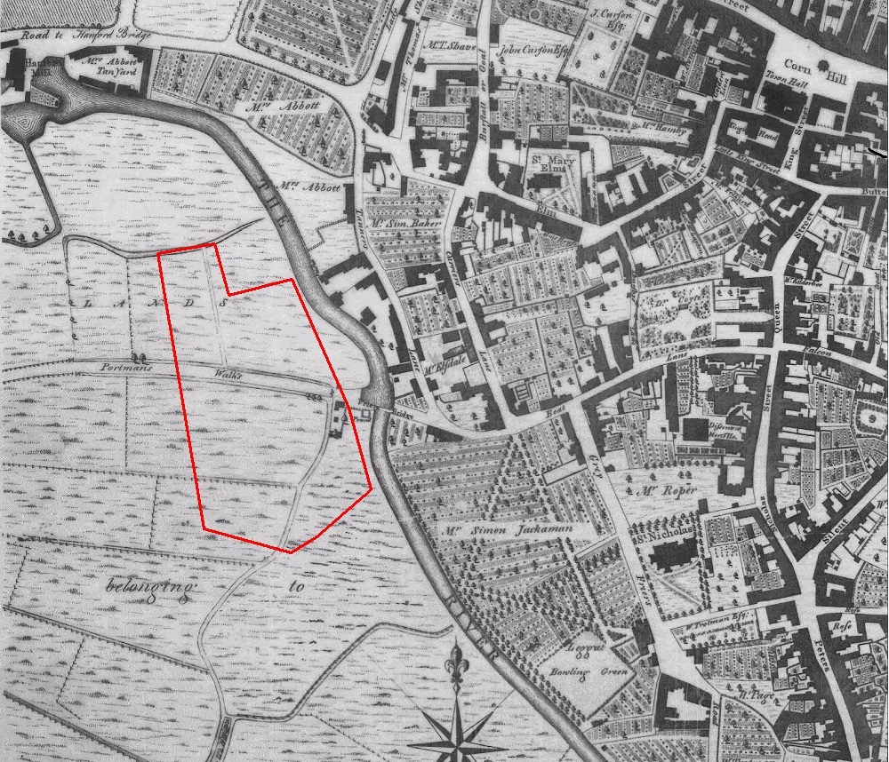 Site as shown on Pennington's map of 1778