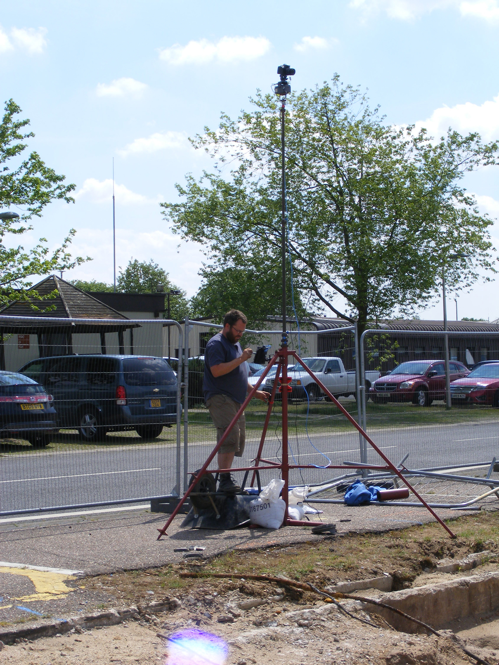 Elevated site photography at RAF Lakenheath using a custom-built mast and  mounted remote controlled camera