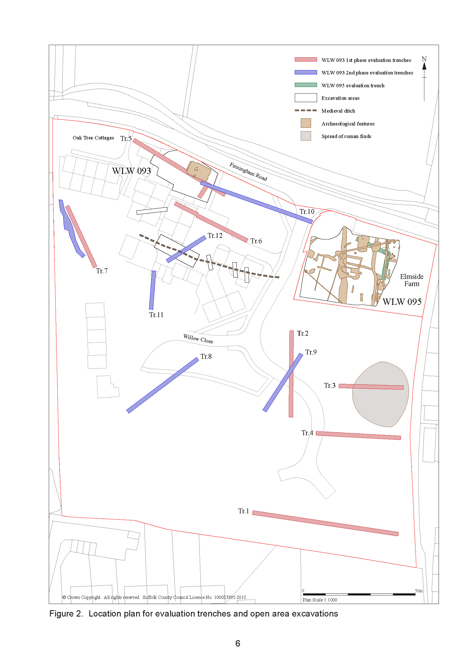 Report location plan from excavations of medieval settlement site at Walsham-le-Willows, Suffolk