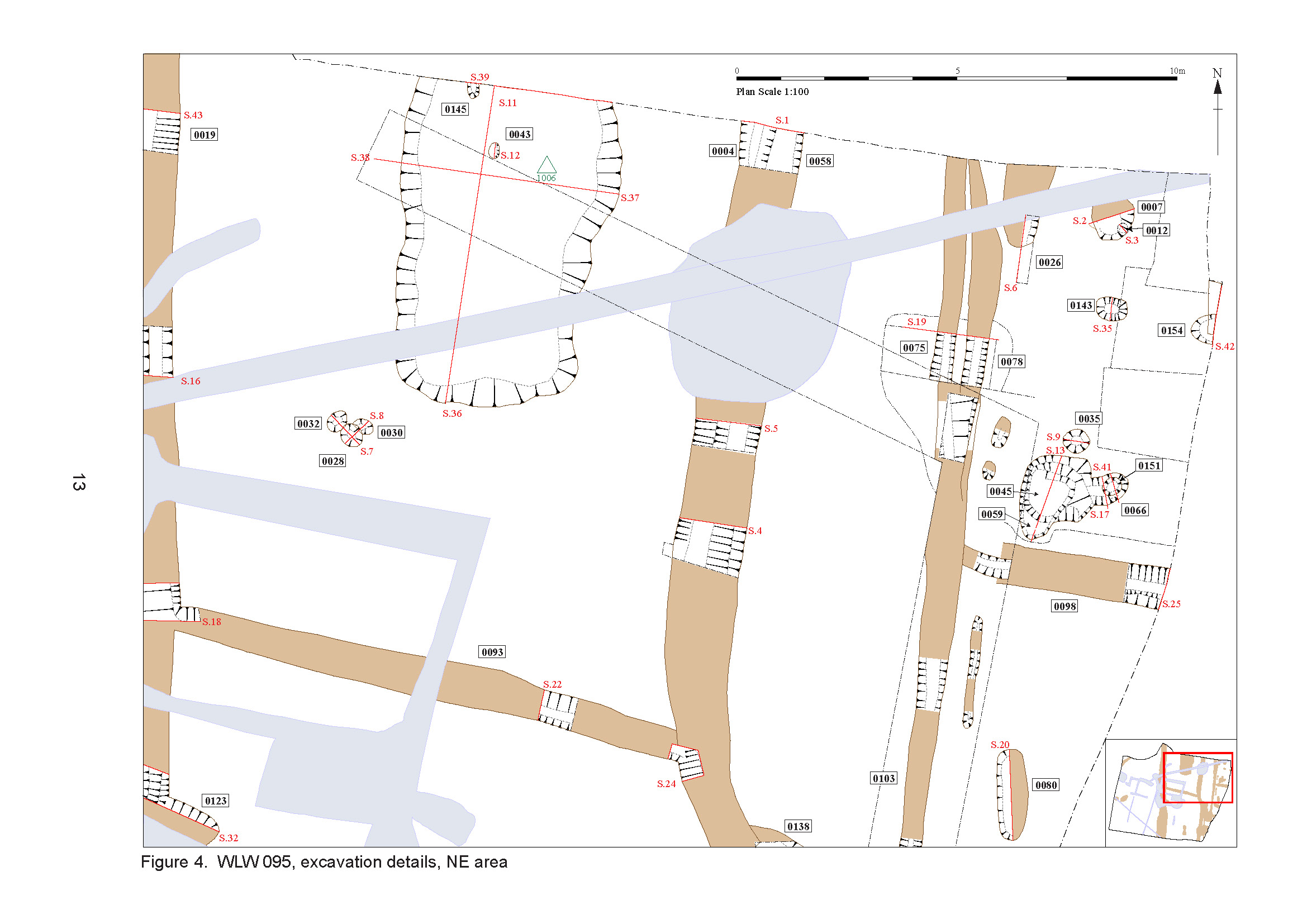 Report site plan from excavations of medieval settlement site at Walsham-le-Willows, Suffolk
