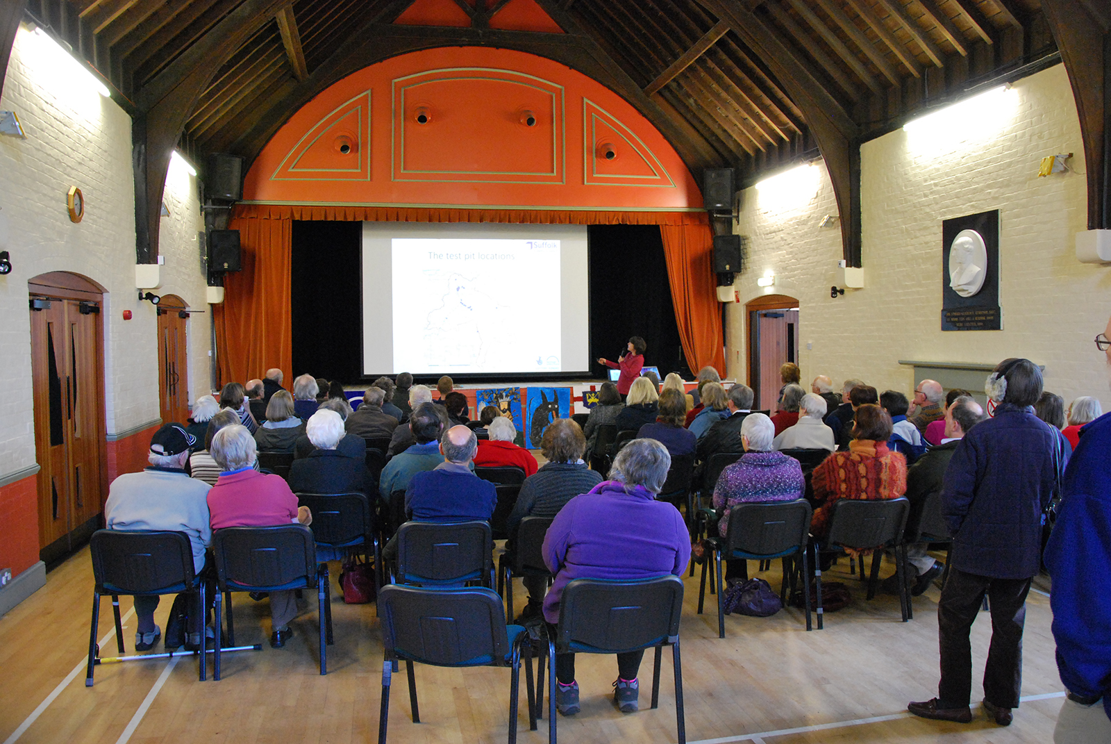 Jo Caruth presenting the final results of the project in Hoxne Village Hall