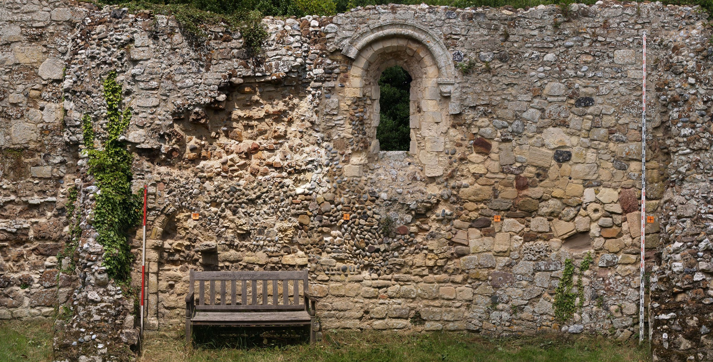 Rectified composite photography of internal face of wall of St James Leper Chapel, Dunwich, Suffolk