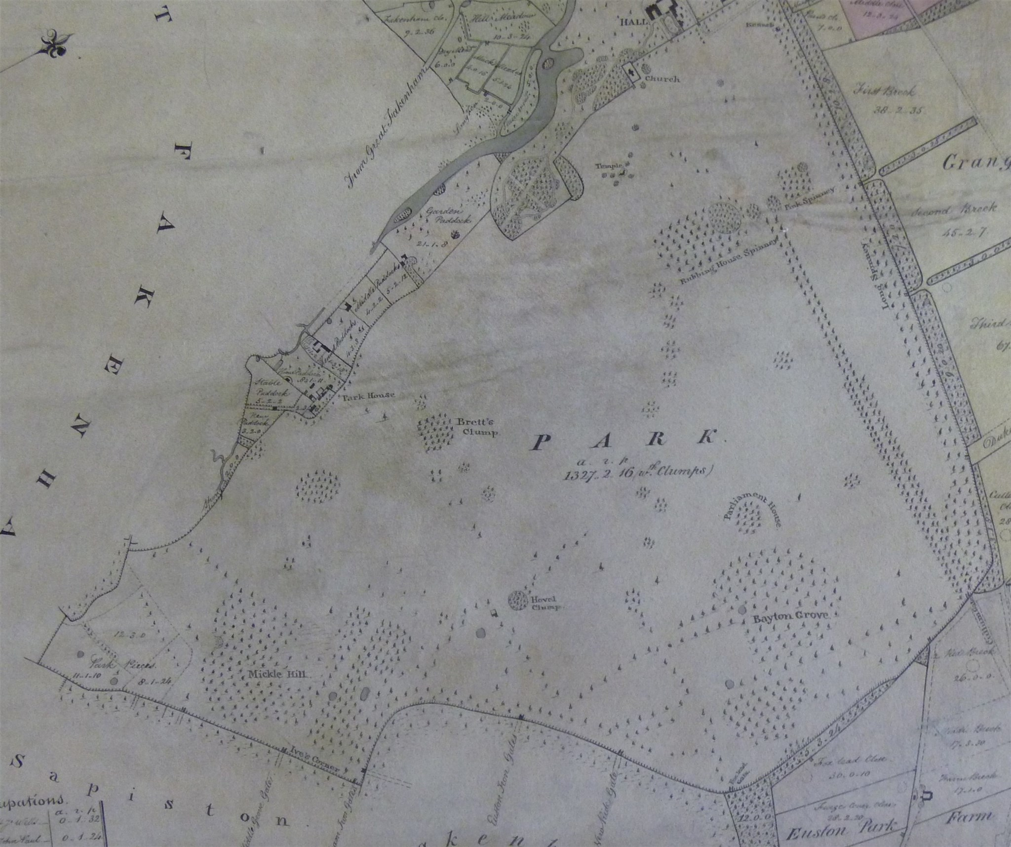 1836 estate map of Euston Park, Suffolk