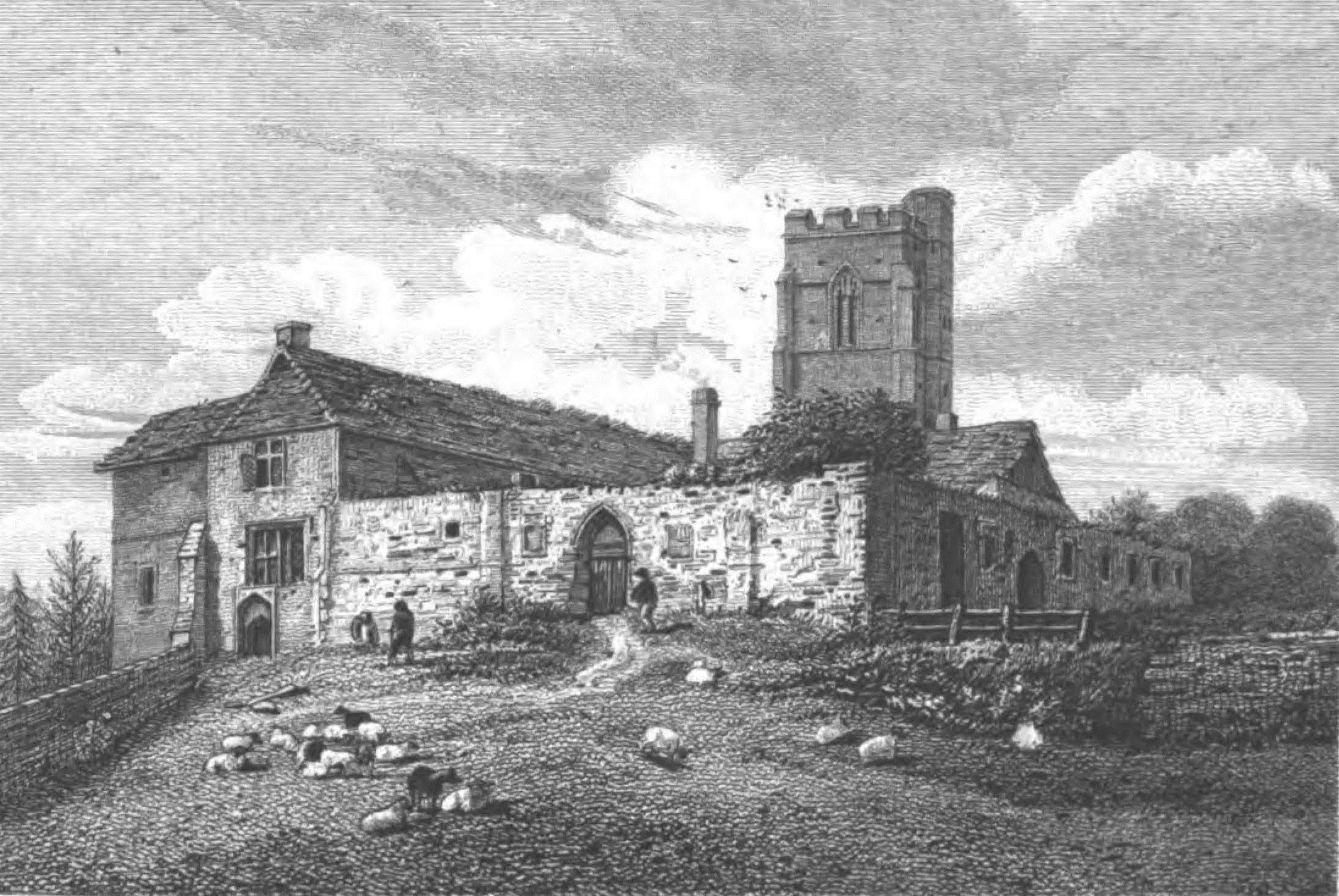 1818 print of the remains of the medieval St Gregory's College, Sudbury, Suffolk