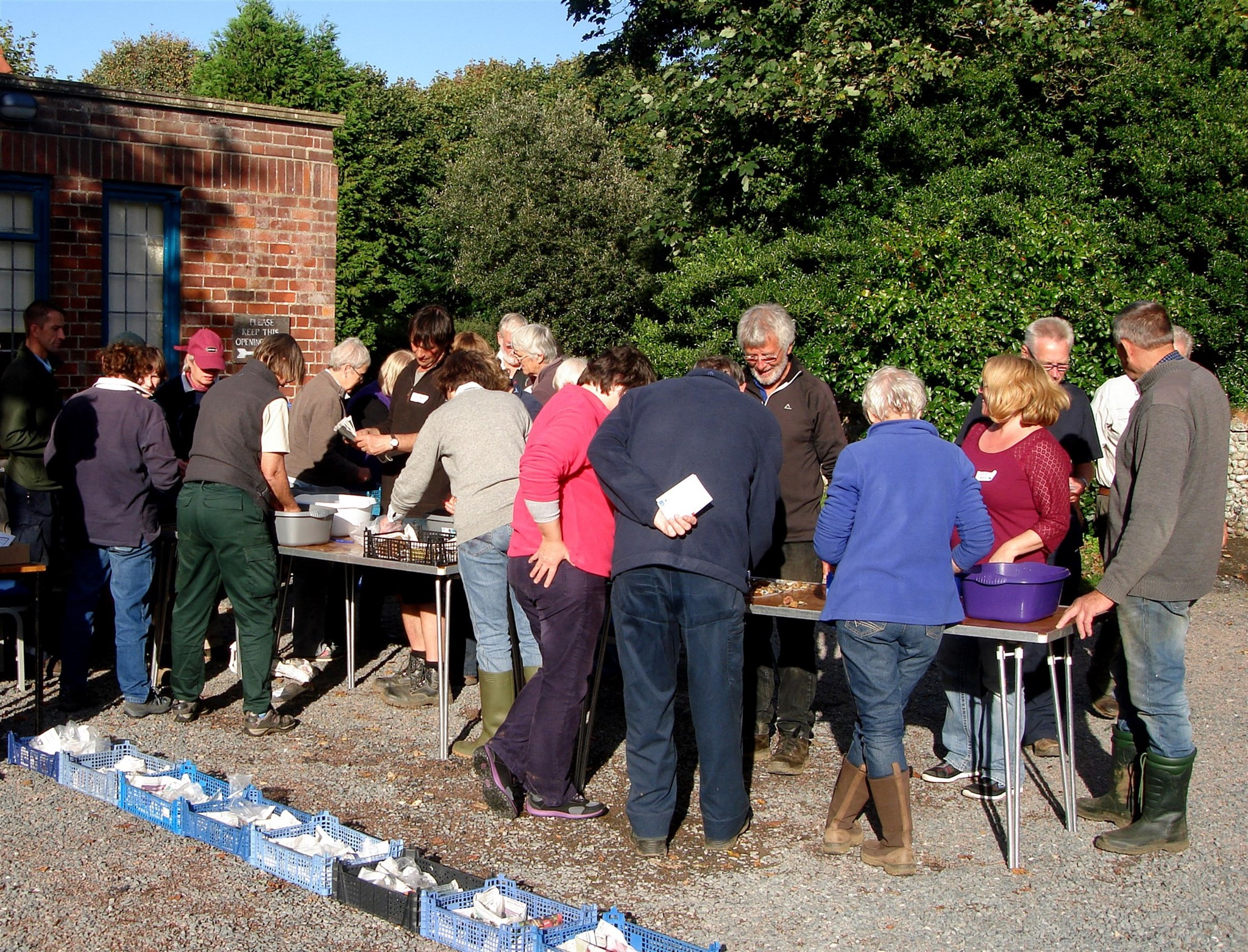 Onsite processing of the fieldwalking finds with the Aldeburgh and District Local History Society, September 2015