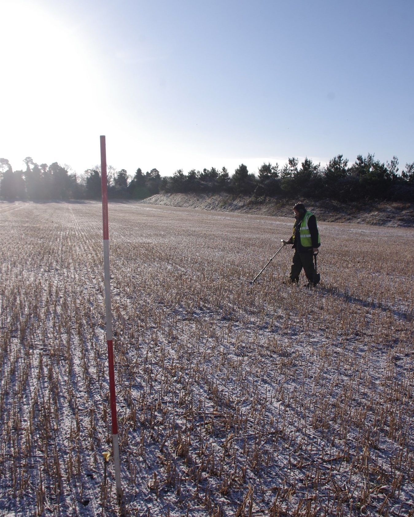 Metal detecting ahead of an excavation site strip at Barton Mills, Suffolk