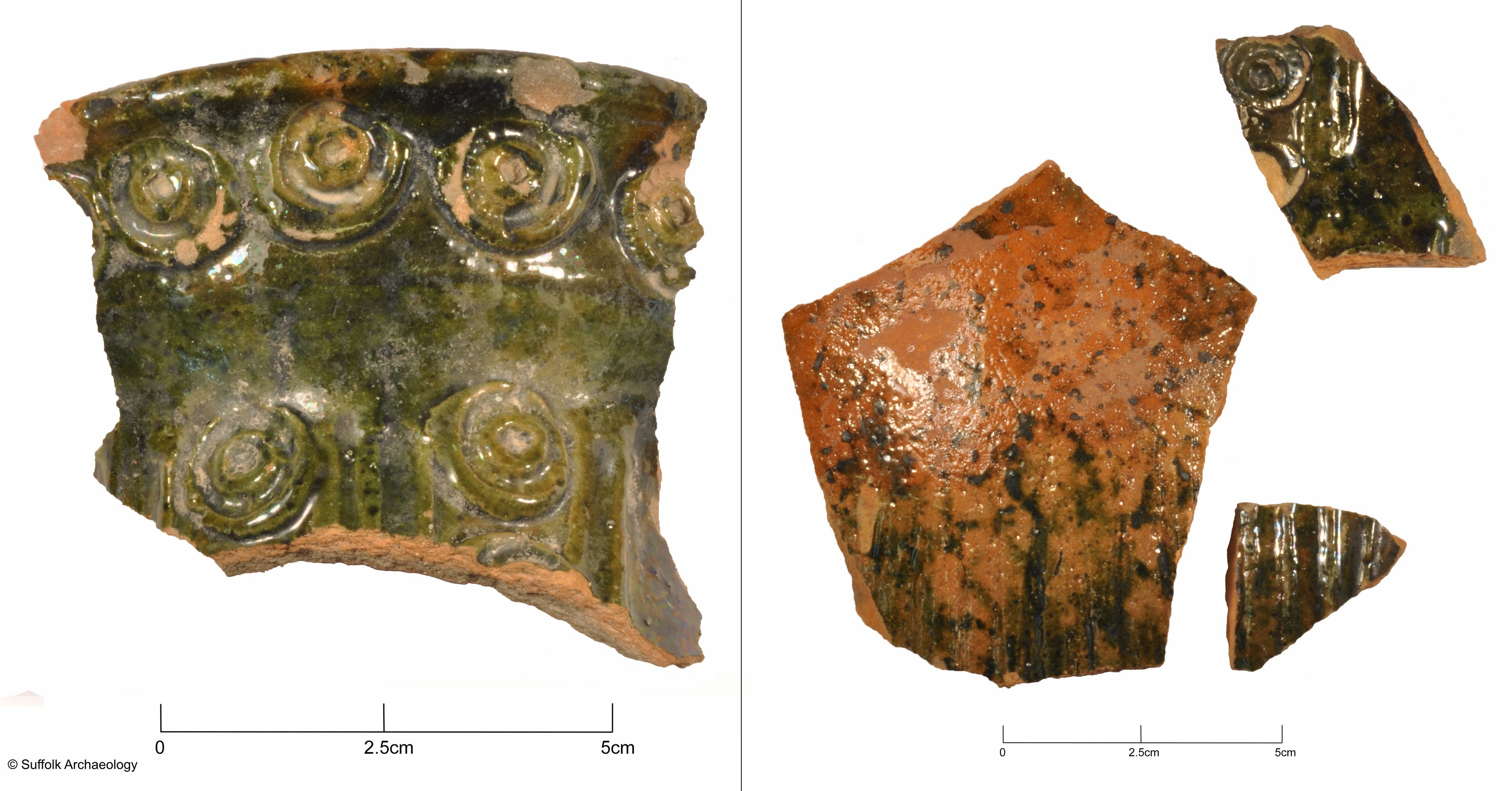 Fragments of 13th-14th century jugs from Hedingham.