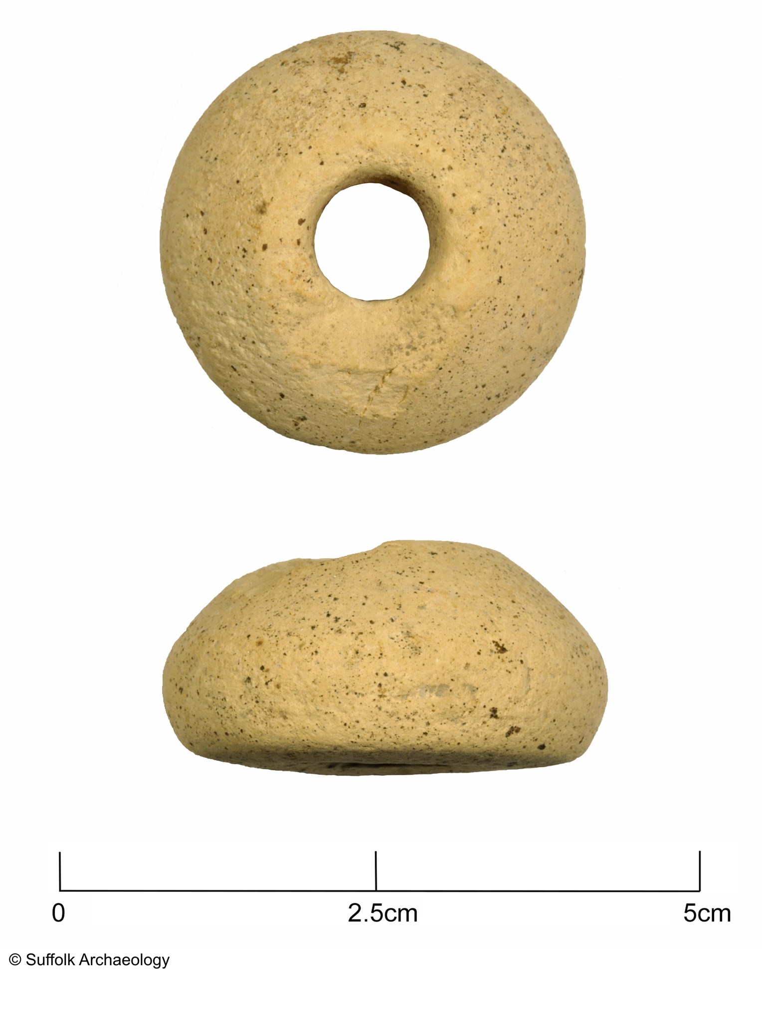 Spindle whorl of 13th-15th century date.