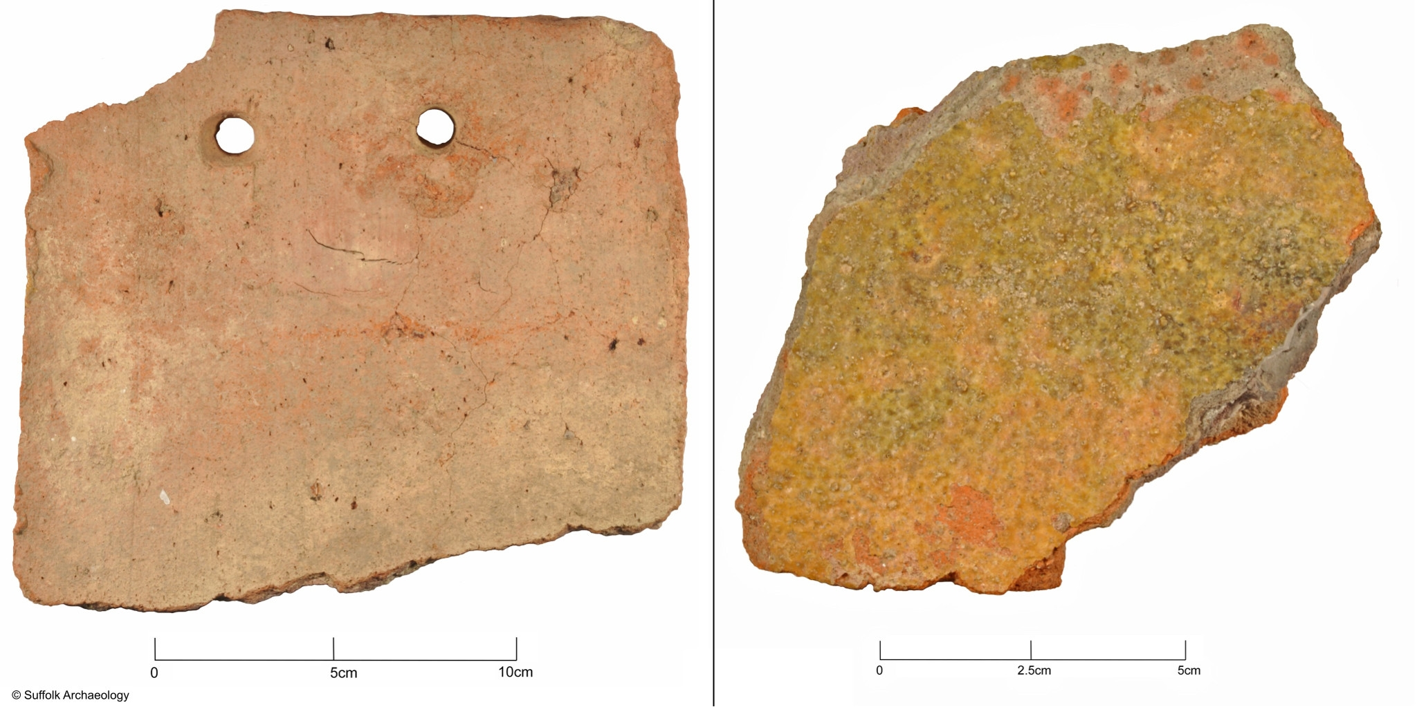Roof tile (left) and glazed floor tile (right).