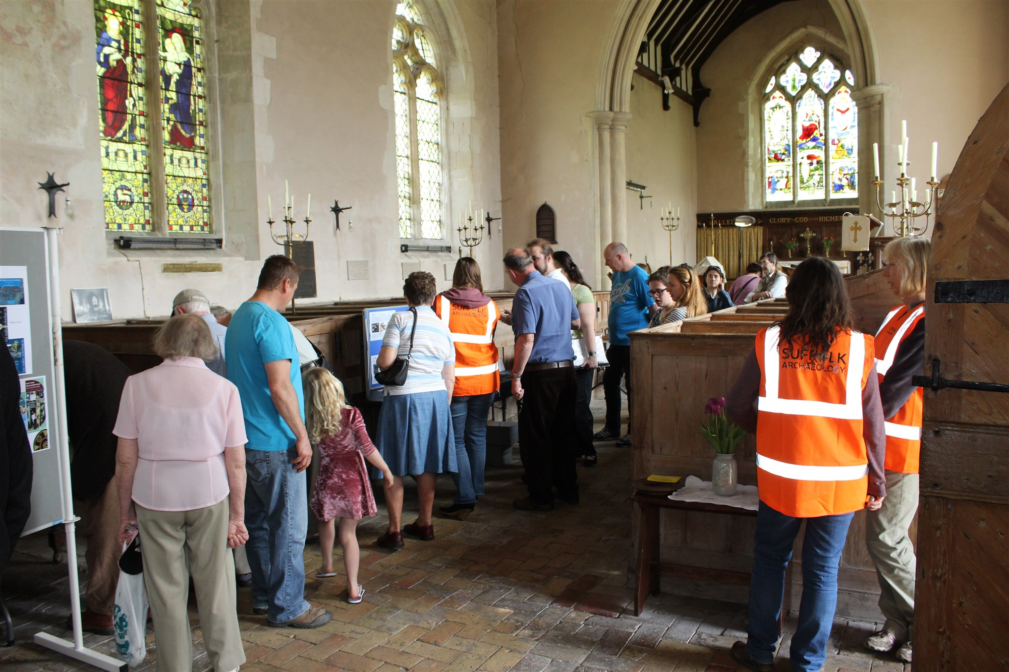 Visitors to the display at St Mary's church, Kentford