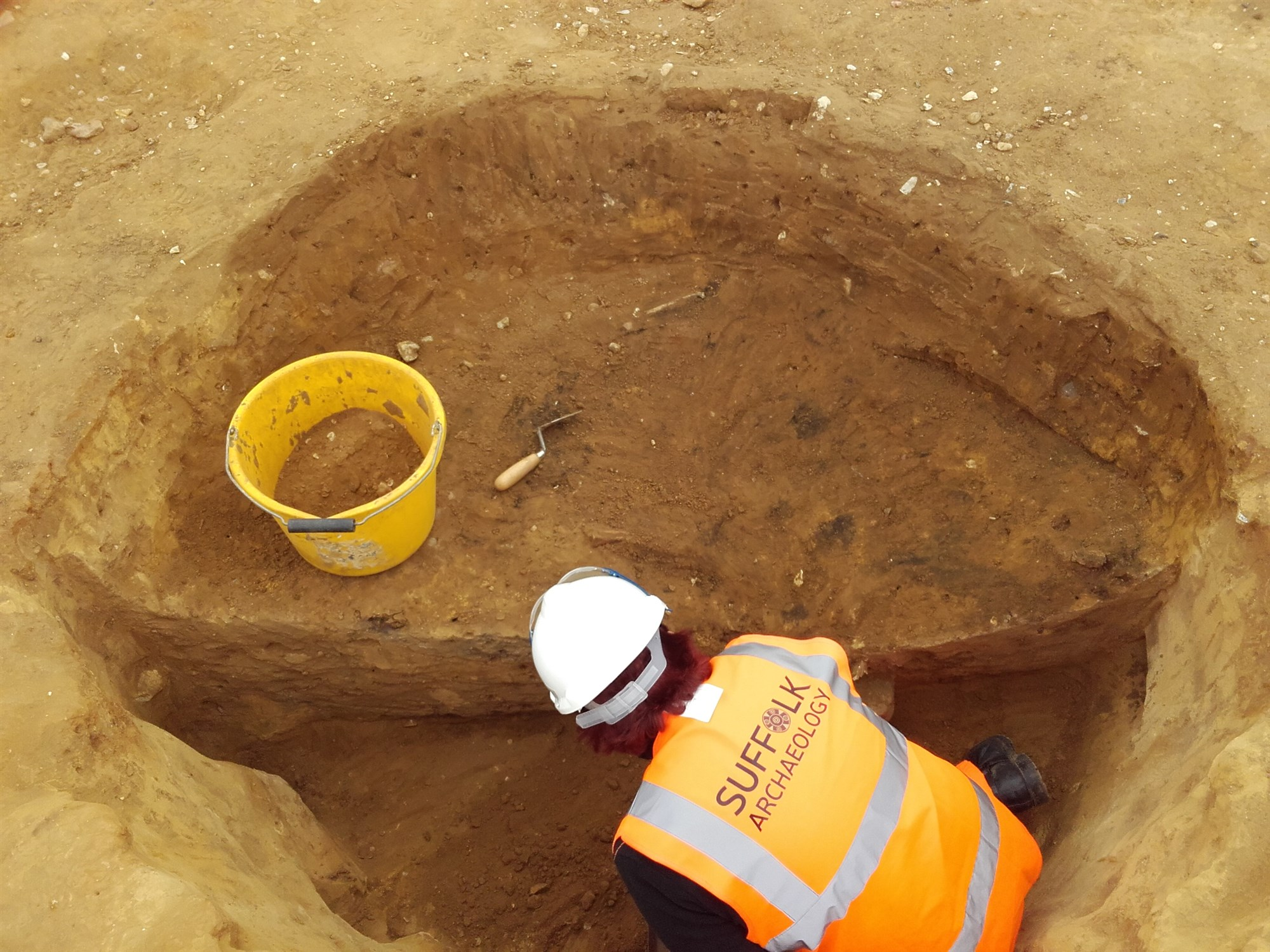 Excavating an Iron Age pit at Fornham All Saints