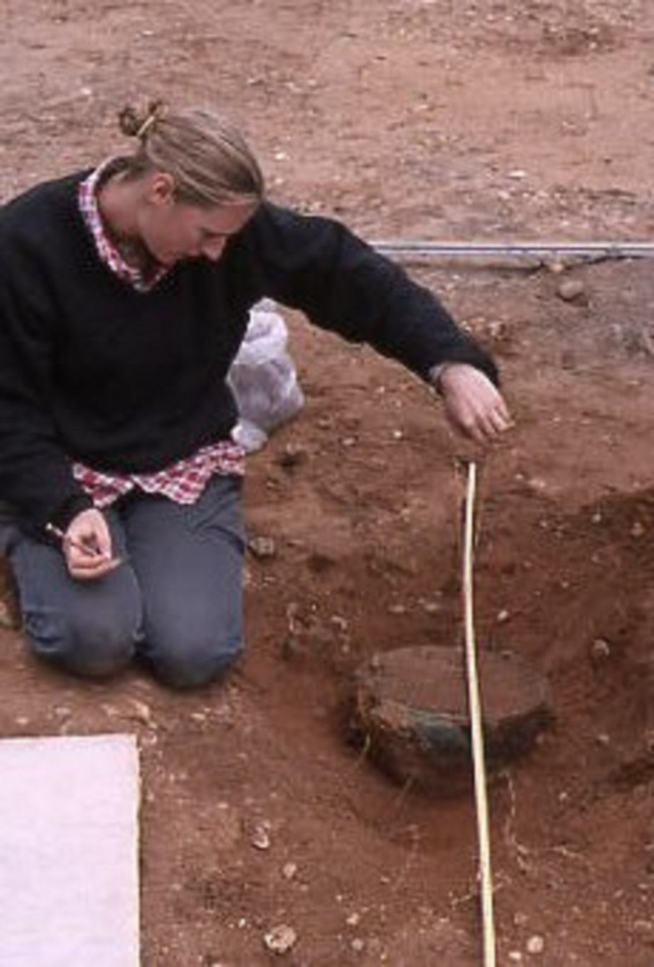 Clare recording the Anglo-Saxon hanging bowl at Sutton Hoo