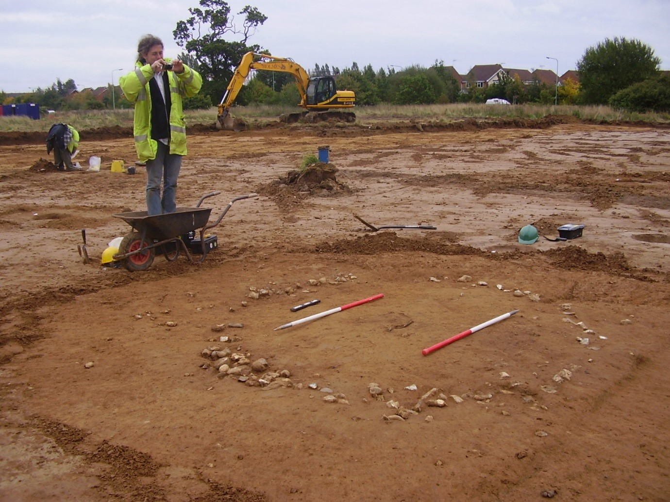 Mark recording a Bronze Age cremation urn and burial monument at Sproughton, Ipswich