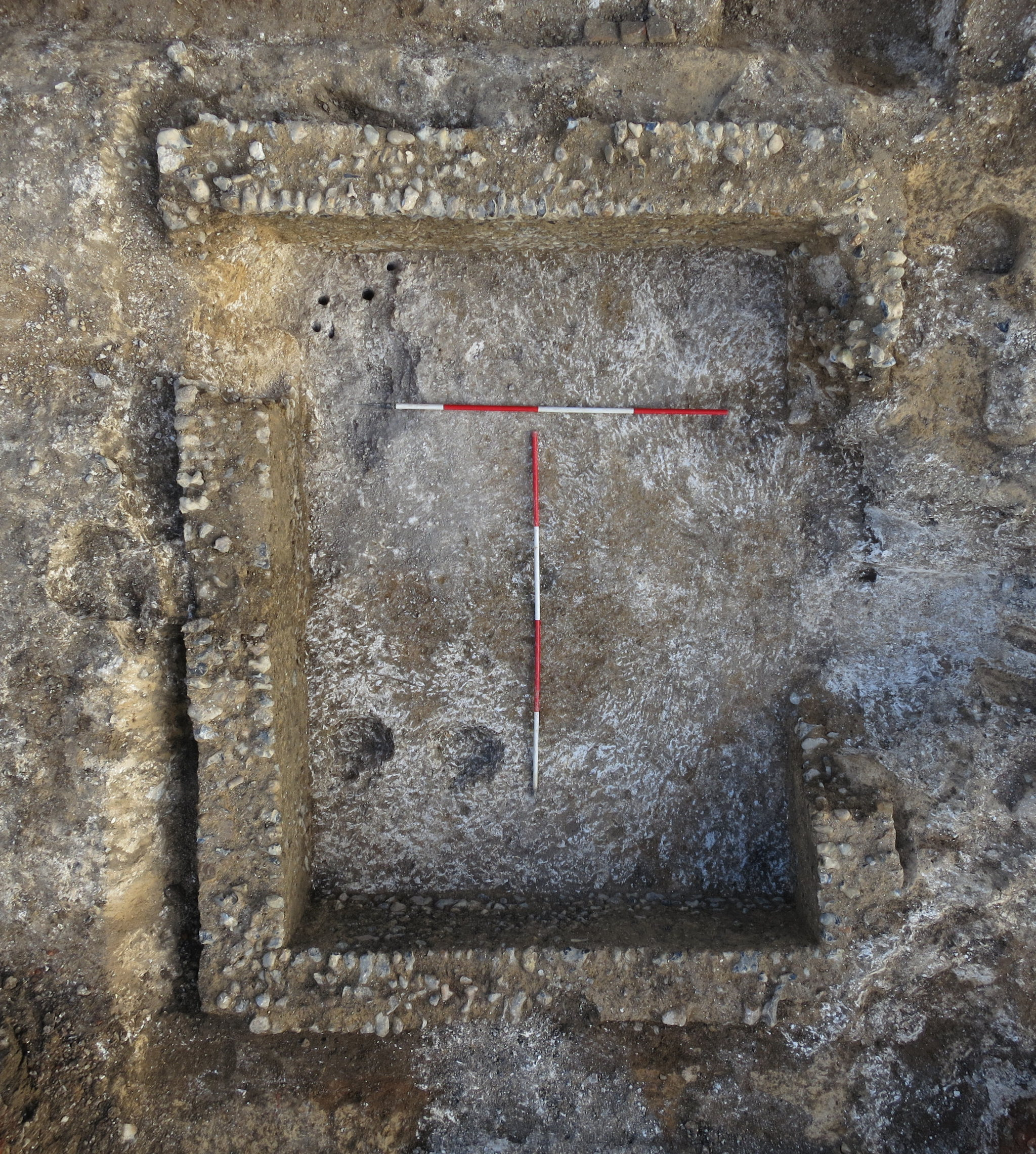 Medieval building foundations. The scale bars are two metres long.