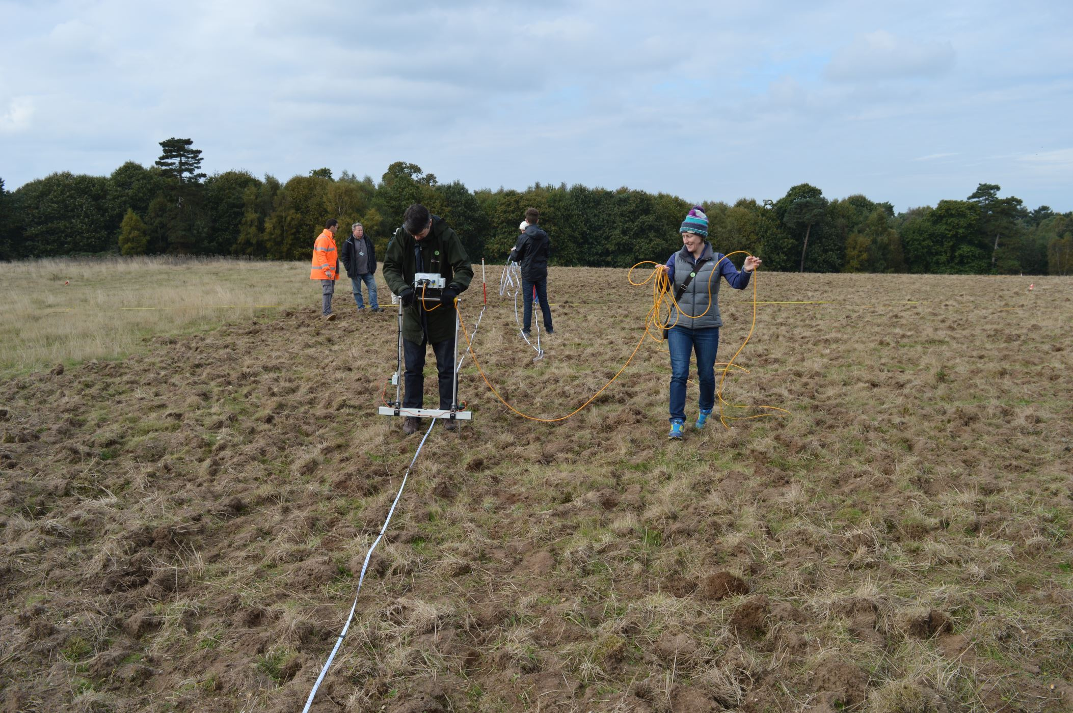Volunteers carrying out the earth resistivity survey at Sutton Hoo