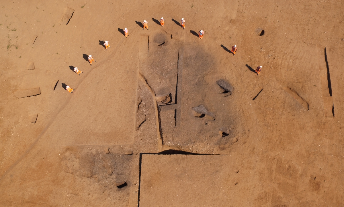 Aerial view of the Phase 1 burnt mound. Photo taken by Flypod
